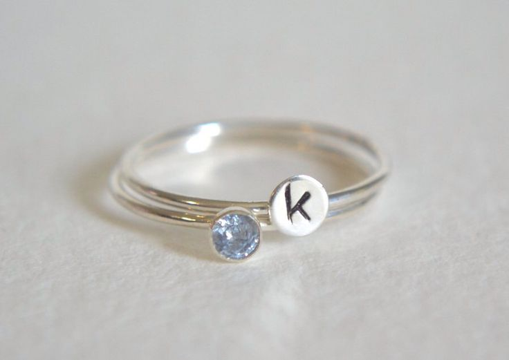 Set of Two Sterling Silver Rings, Personalized Ring, Stacking Ring, Initial Ring, Silver Ring, Dainty Ring, Stackable Ring, Aquamarine Ring by Fondeur on Etsy https://www.etsy.com/listing/240082571/set-of-two-sterling-silver-rings