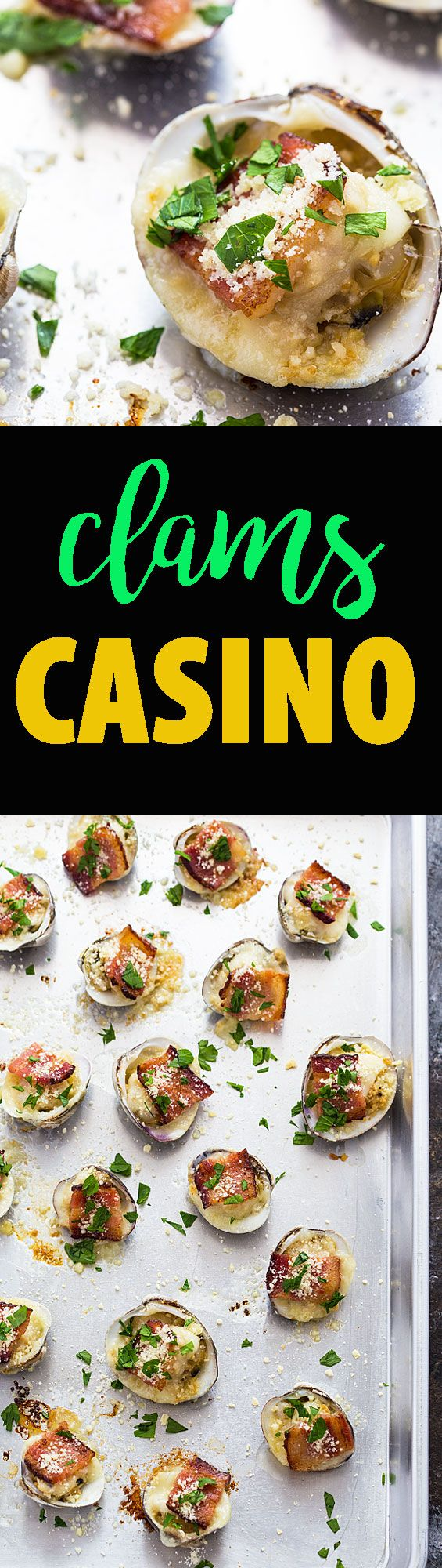 Clams Casino - Delicious baked clams with a buttery garlic sauce, cracker meal, cheese and bacon.