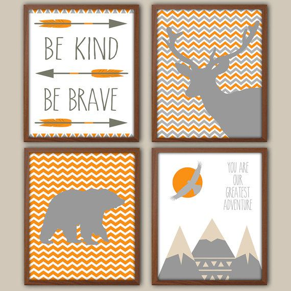 Nursery Art  Orange And Gray Nursery  Nursery by iNKYSQUIDKIDS...but with different colors