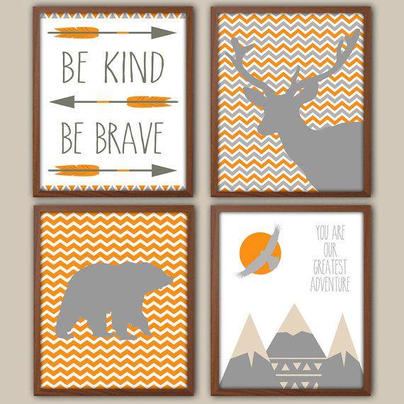 Nursery Art  Orange And Gray Nursery  Nursery by iNKYSQUIDKIDS, $30.00