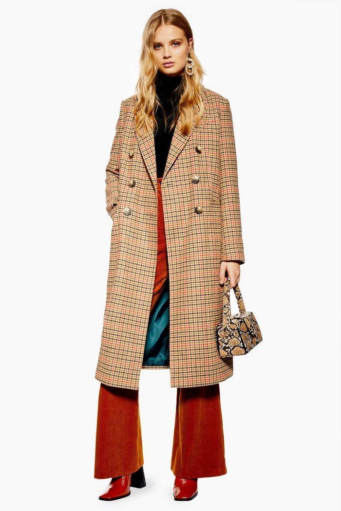 New Womens Ladies Check Beige Hounds Tooth Tartan 3//4 Sleeve Duster Coat Blazer
