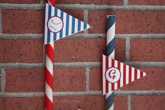 Baseball Birthday Party Straw Flag Tag by BellaGreyDesigns on Etsy, $8.50