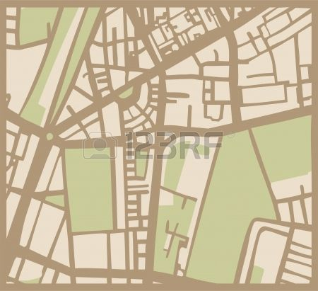 Abstract vector city map with brown streets, beige buildings and green park. Simply hand made draft town plan vintage illustration. Vector