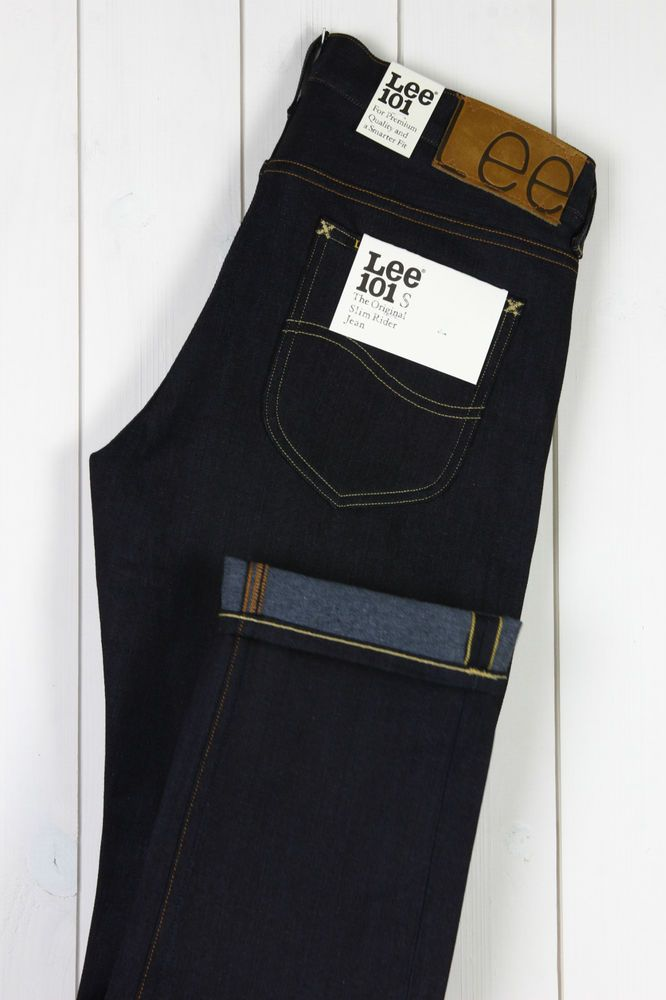 NEW LEE 101S SLIM RIDER JEANS SELVEDGE DRY/RAW DENIM TAPERED L32/L34 --All Sizes