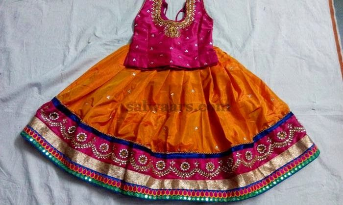 Orange Sequins Work Lehenga - Indian Dresses