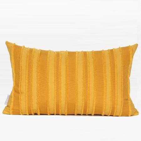 "Yellow Tassel Stripe Textured Pillow 12""X20"""