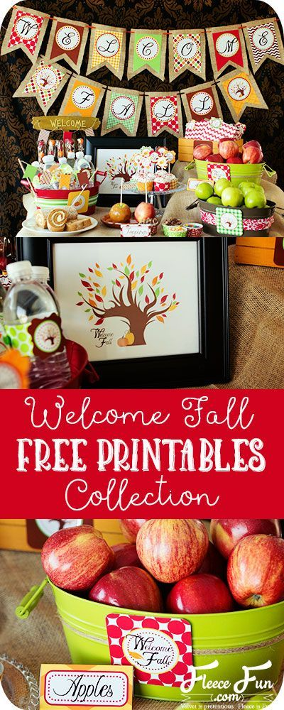 I love this collection of free printables for fall. There is a banner, cupcake wraps, flags, labels and a framed art! Such a great fall decor diy idea.