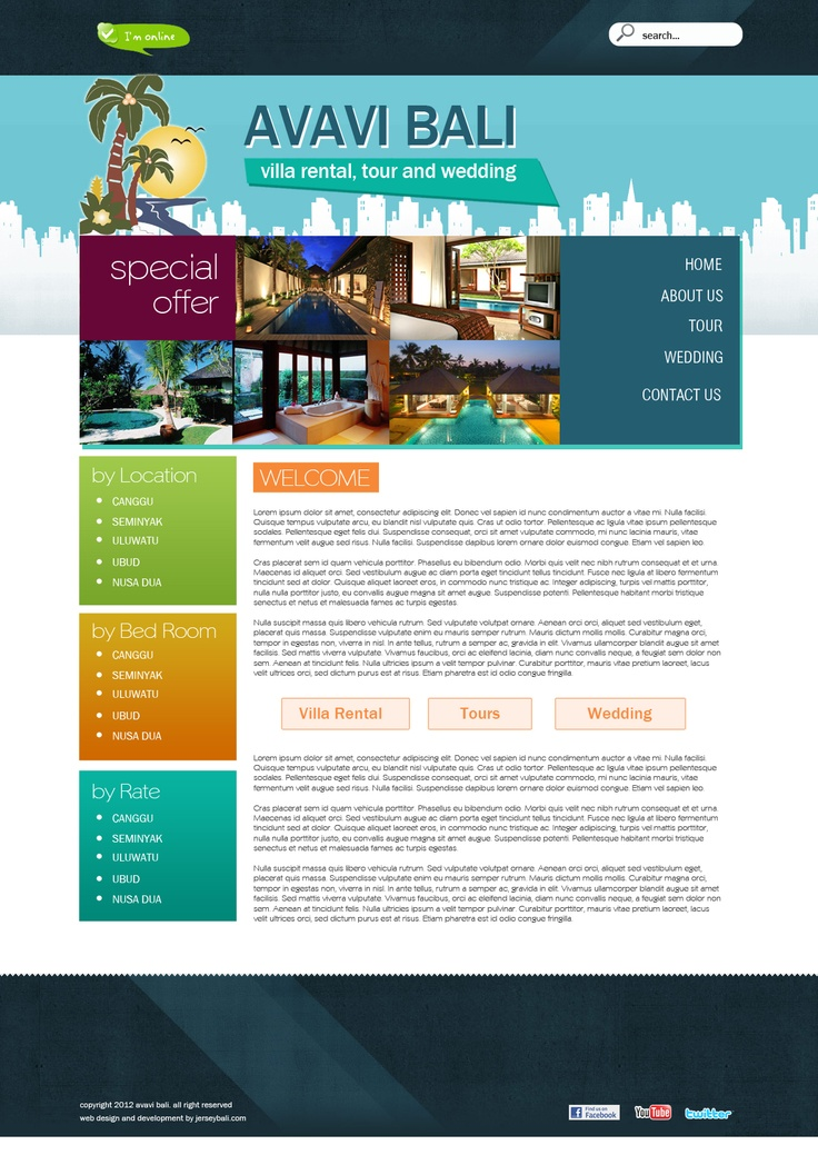 Avavi Bali Villas Rental  web design, web development, wordpress