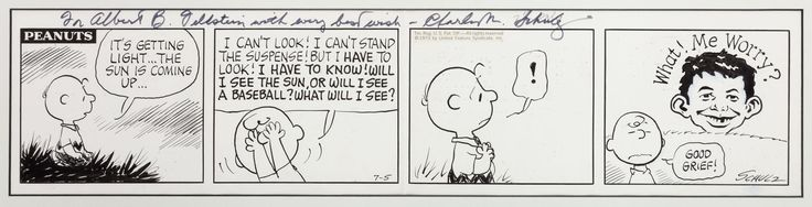 Peanuts Daily Comic Strip Featuring Alfred E. Neuman Original Art dated 7-5-1973 (United Feature Syndicate, 1973).This original art features two of the most iconic characters in the world of comics, as Charlie Brown fearfully awaits the sunrise, only to find... Alfred E. Neuman! The art is warmly inscribed by Schulz to famed MAD and EC editor Al Feldstein (my hero and friend) and comes with the original mailing envelope from Schulz to Feldstein when it was gifted to Al in August 1973, a…