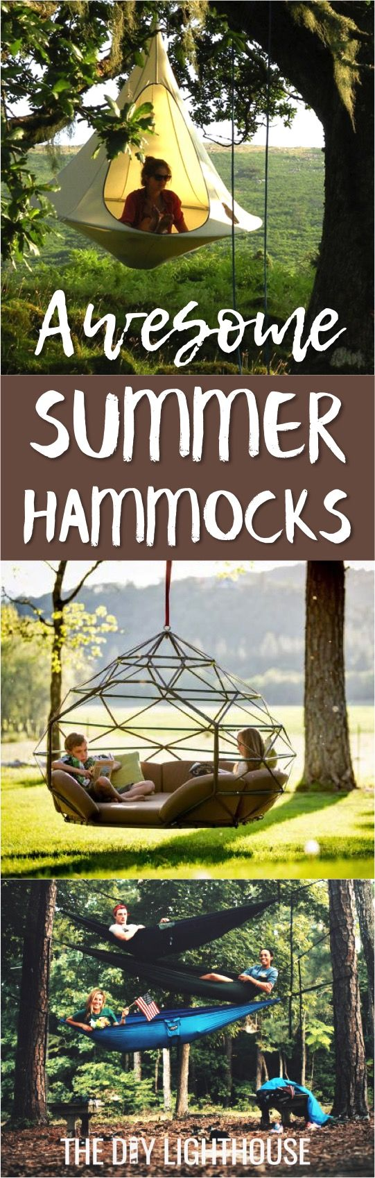 Awesome summer hammocks | DIY hammock tutorial and hammocks you can buy | Great for your yard, backyard, indoor, camping, etc. Multi person hammocks, double hammock, single hammock, etc. Really cool and unique hammocks that look awesome and are functional | Outdoor furniture for your backyard, patio, or yard.