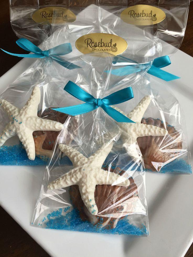 chocolate starfish and seashell favors wedding bridal shower anniversary birthday luau beach theme dessert table bridalshowerfavors