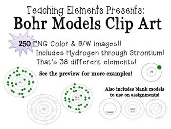 This Bohr Model Clip Art product has 250 images in color, and black and white!