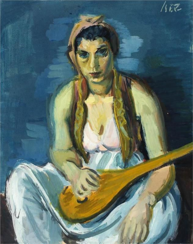 Odalisque with Mandoline. Artist: Iosif Iser.