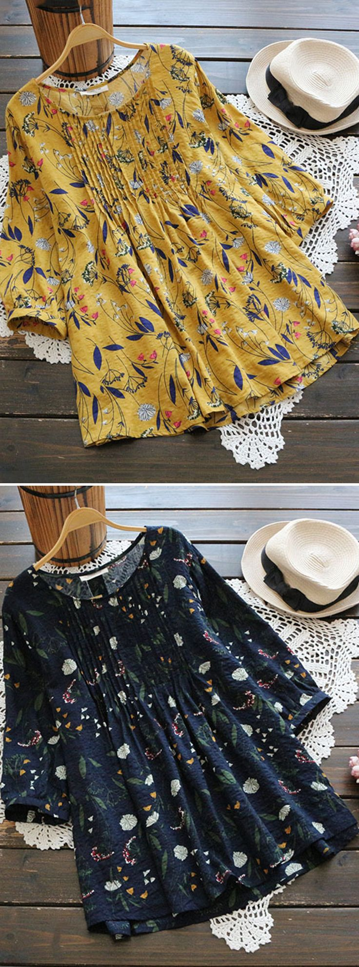 50% OFF! US$21.89 Women Floral Printed 3/4 Sleeve Vintage Blouses. SHOP NOW!