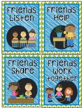 """FREEBIE  These adorable classroom posters come with matching letters to spell out """"We are Friends!""""   It will make an adorable mini bulletin board.Enjoy!!"""