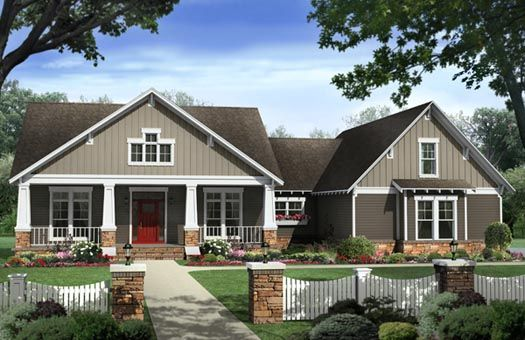 Bungalow Style House Plans - 2400 Square Foot Home , 1 Story, 4 Bedroom and 2 Bath, 2 Garage Stalls by Monster House Plans - Plan 2-284