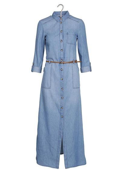E Shop Robe Longue En Jean Bleu Caroll Pour Femme Sur