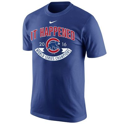 Chicago Cubs Nike 2016 World Series Champions Celebration It Happened T-Shirt - Royal