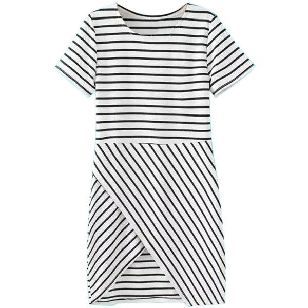 Choies Black And White Stripe Short Sleeve Wrapped Dress ($28) ❤ liked on Polyvore