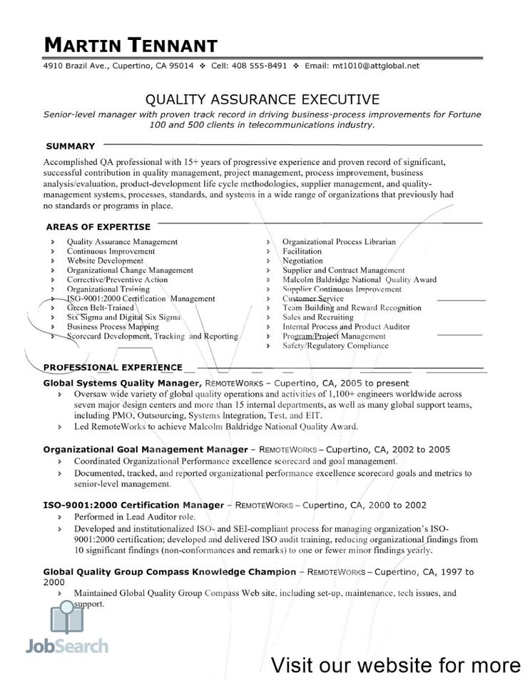 Pin on Software Quality Assurance Resume Examples 2020