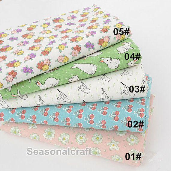 Cotton Linen Fabric Rabbit Flower Birds Linen by seasonalsupplies