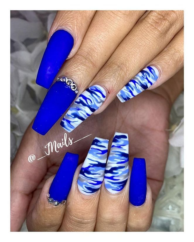 Get The Scoop On Blue Nail Designs Royal Coffin Before You Re Too Camouflage Nails Blue Acrylic Nails Blue Nail Designs