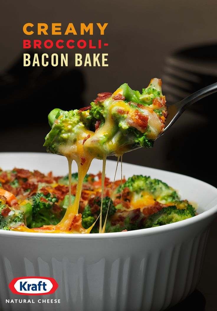 KRAFT Shredded Triple Cheddar Cheese with a TOUCH OF PHILADELPHIA Cream Cheese, plus smoky bacon, carrots & onion make broccoli the impossibly irresistible vegetable.