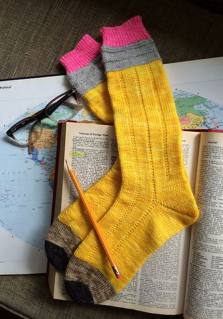 No. 2 Pencil Socks I made for The Girl to wear for her final exams before graduation from college this spring. Aren't they the most clever things ever? The pattern is on Ravelry. Read my project notes on my Ravelry project page (I'm TrishKnits). Order the custom-dyed yarn from the Yarn Enabler at https://www.etsy.com/shop/yarnenabler