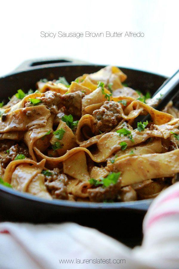 Spicy Sausage Brown Butter Alfredo Pasta - Laurens Latest