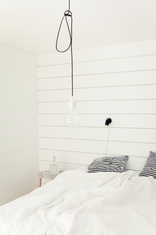 boarded wall in the bedroom
