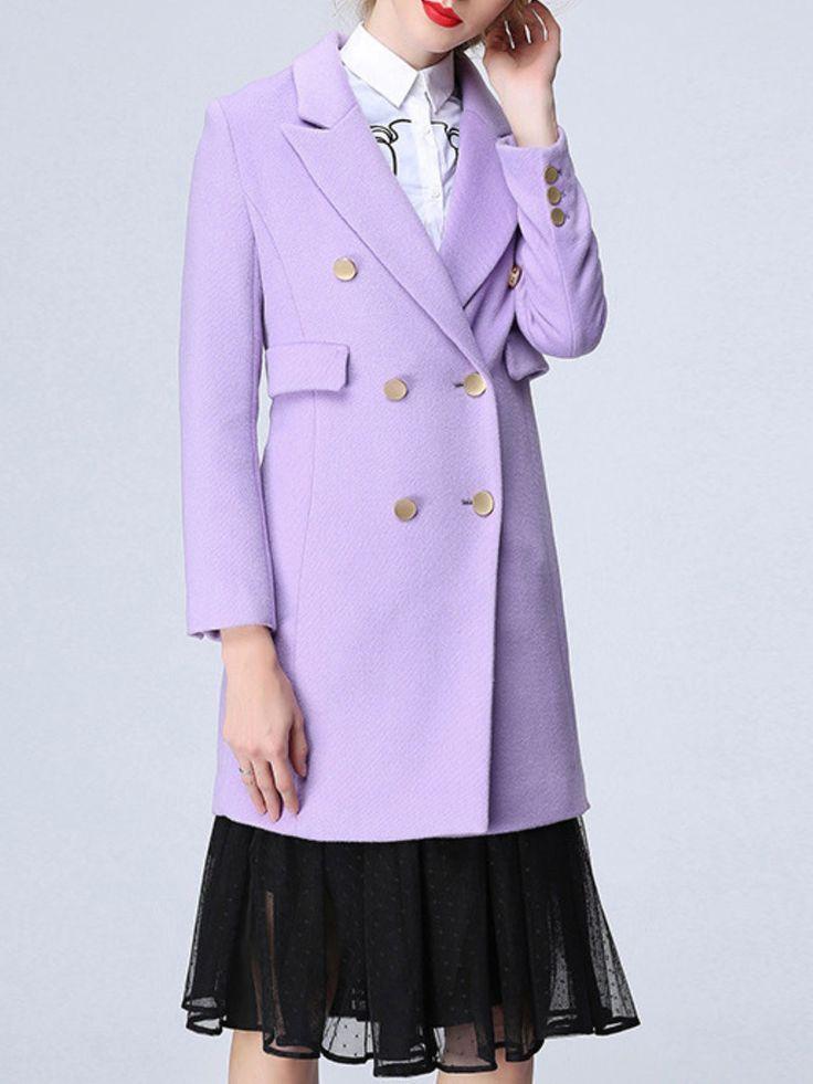 Purple Buttoned Long Sleeve Coat