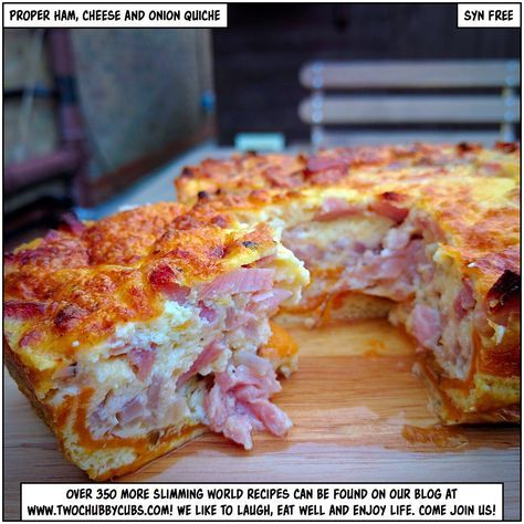 Please like and share! Looking for a proper ham, cheese and onion quiche recipe which doesn't use cottage cheese and tears? Ours is gorgeous: a proper quiche recipe for SW! Remember, at www.twochubbycubs.com we post a new Slimming World recipe nearly every day. Our aim is good food, low in syns and served with enough laughs to make this dieting business worthwhile. Please share our recipes far and wide! We've also got a facebook group at www.facebook.com/twochubbycubs - enjoy!