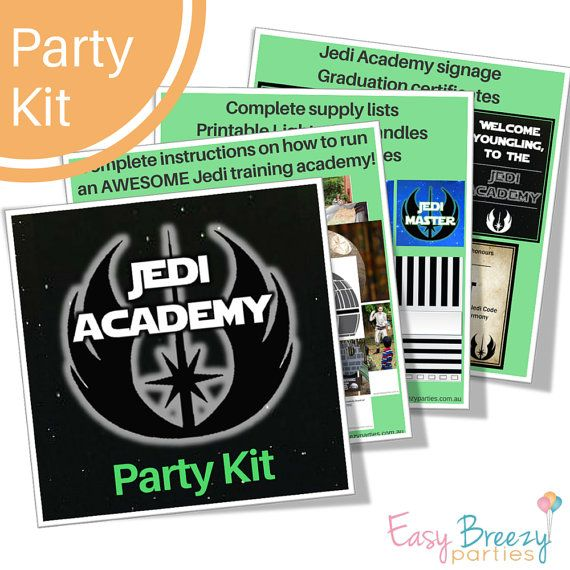 Journey this way, youngling, and a Jedi you will become...  This party kit contains complete instructions on how to run an epic Star Wars JEDI TRAINING ACADEMY... along with printable signage, graduation certificates, lightsaber handles and supply list.  * This product is delivered as an instant DIGITAL DOWNLOAD *  Im a professional kids party planner, and this party kit shows you exactly how I run my own Star Wars party games. My instructions are easy to follow, and Ive hand-picked the…