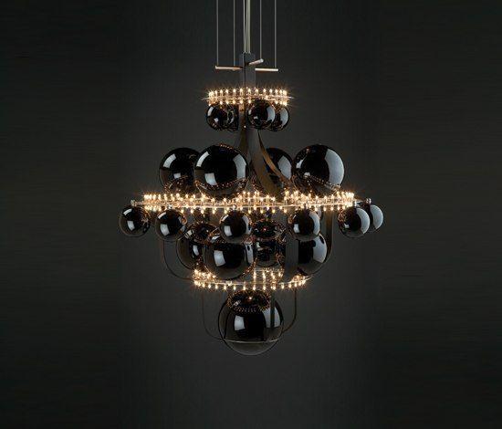 Royal BB suspended lamp by Quasar | Stainless steel with golden balls. Frame white deadened | Discover more lighting ideas: www.bocadolobo.com #lighting #modernlamps