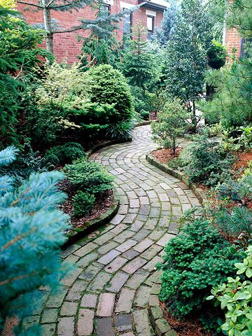 Brickwalk way to front door. Like how traditional it is. Like that it is in keeping with the style of a colonial home. Like framing the path with vertical bricks. (but may want the frame to be same height as path so the kids don't trip as they run through the yard.).