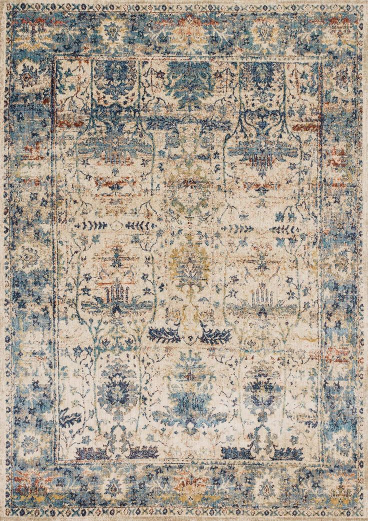Kajal Rug, Blue.  Add a touch of old world glamour to a space with this stunning rug, we especially love the gorgeous vintage motif.