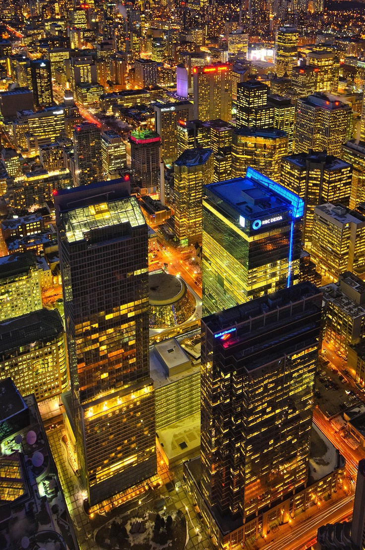 Toronto Downtown Core (Roy Thompson Hall, City Hall) at night as seen from CN Tower  I haven't been to Toronto yet. :)