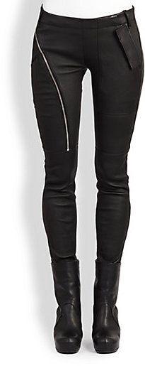 Rick Owens Leather Side-Zip Leggings #black #fashion #style