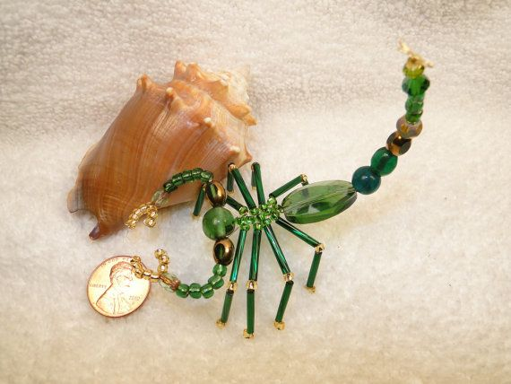 Beaded Green Scorpion Spider Glass Suncatcher