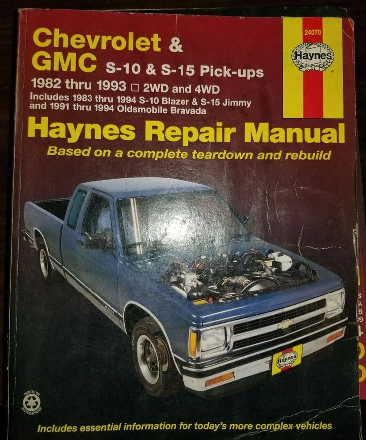 Haynes Repair Manual Chevrolet Gmc S 10 S 15 Pick Ups 1982 1993 24070 Repair Manuals Repair Gmc