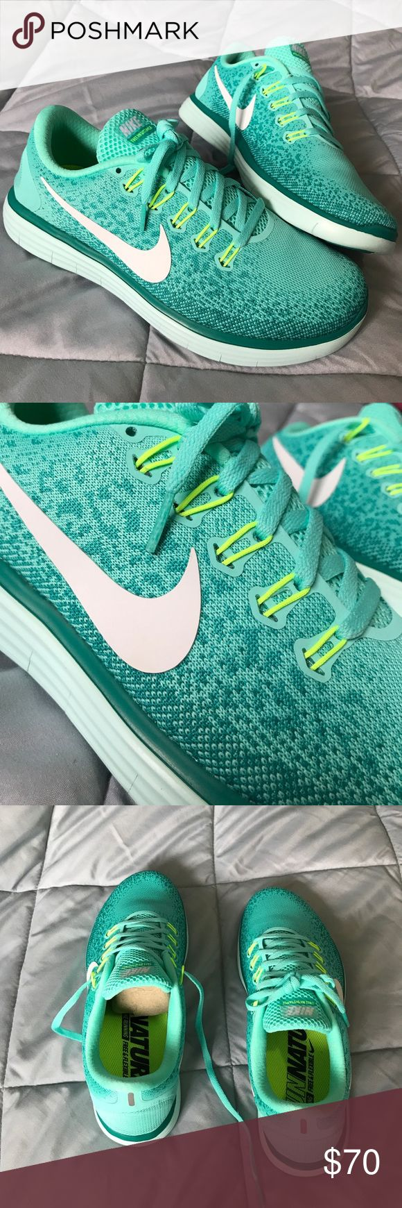 ♂️Nike Free RN Distance♂️ Size 9, new w/o tags (print still on Sole) worn for 15 men's mutes, like Brand new!! Different shades of teal, white, & neon green/yellow!! Very nice, & extremely comfortable!!! ♂️♀️️♀️ Nike Shoes