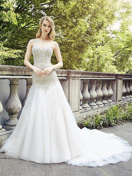 Superb Val Stefani Spring Style ROSETTE Embellished wedding dress w tulle skirt