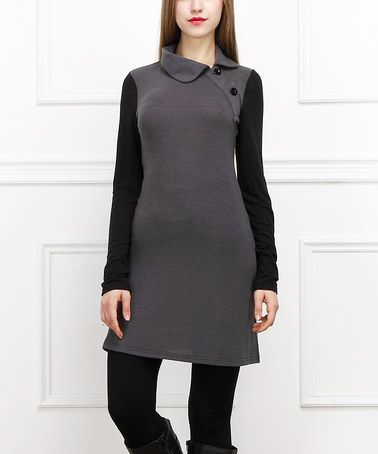 Another great find on #zulily! Charcoal & Black Layered Button Sheath Dress #zulilyfinds