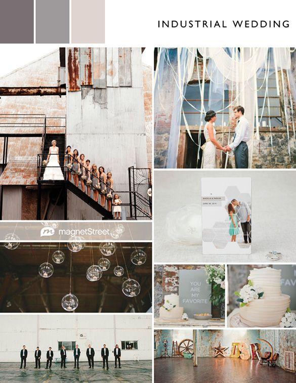 Industrial wedding - neutral wedding color palette for an urban industrial chic wedding. Love this!
