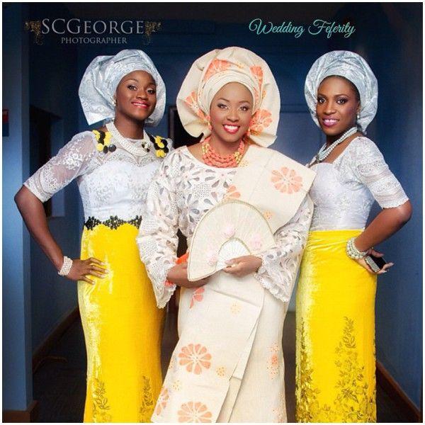 Silver And Yellow Aso Ebi For Traditional Yoruba Wedding