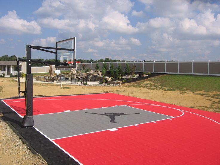 Half Basketball Court With Custom Logo Outdoor Basketball Court Basketball Court Backyard Backyard Basketball