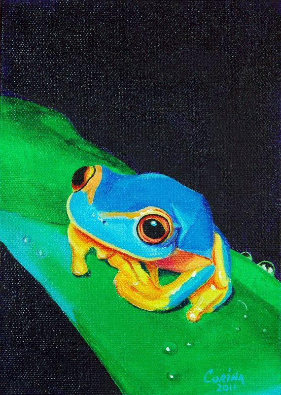 Blue Tree Frog - Wildlife Art Original Acrylic Painting on Canvas 5 x 7 - By Corina St. Martin Etsy