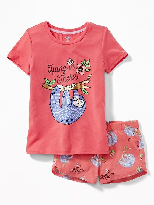 b3bdbb486815 Sloth pajamas for the slumber party! 2-Piece Graphic Sleep Set for Girls  #ad #oldnavy #tweengift #tweenfashion