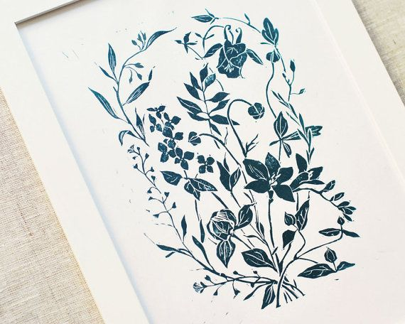 linocut home interiorBouquet in blue handprinted by ElfinLilac