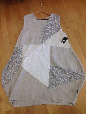 New SS14 Sarah Santos Oatmeal Linen Dress Patchwork Bohemian Lagenlook 48B L | eBay